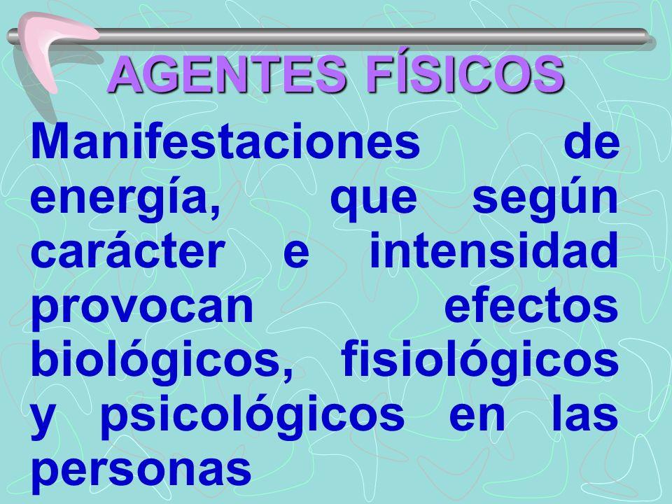 AGENTES FÍSICOS Manifestaciones de energía, que según carácter e intensidad provocan efectos biológicos, fisiológicos y psicológicos en las personas.
