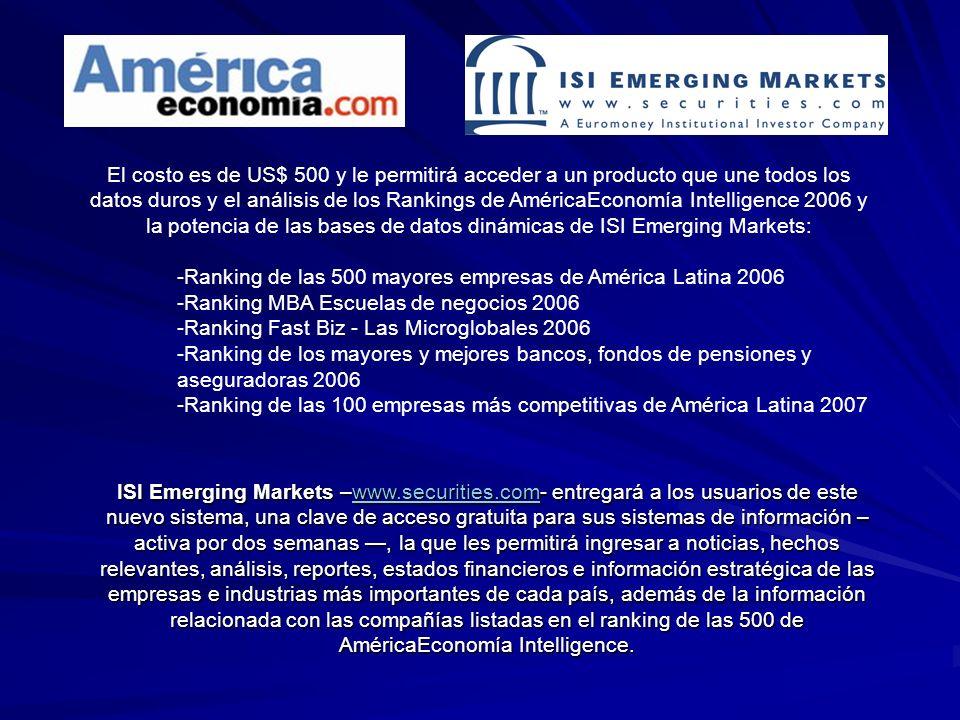 El costo es de US$ 500 y le permitirá acceder a un producto que une todos los datos duros y el análisis de los Rankings de AméricaEconomía Intelligence 2006 y la potencia de las bases de datos dinámicas de ISI Emerging Markets: