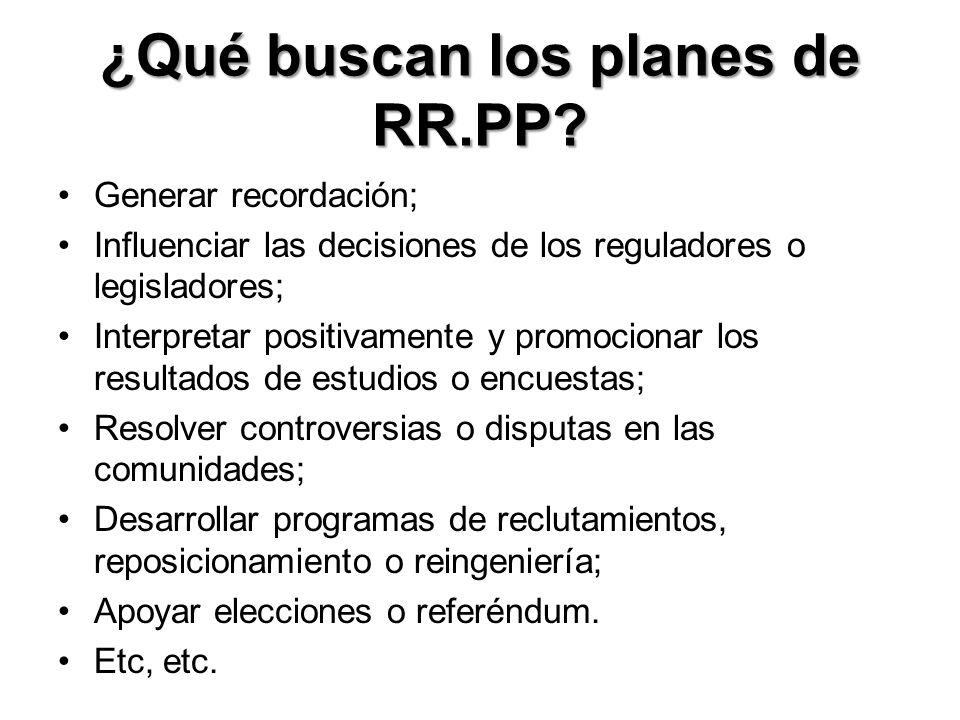 ¿Qué buscan los planes de RR.PP