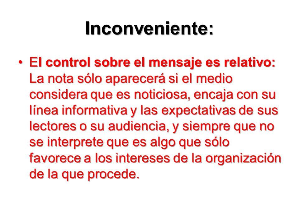 Inconveniente:
