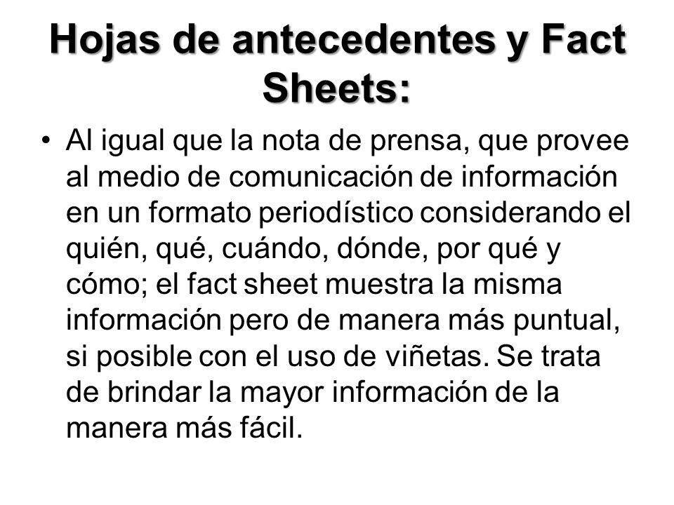 Hojas de antecedentes y Fact Sheets: