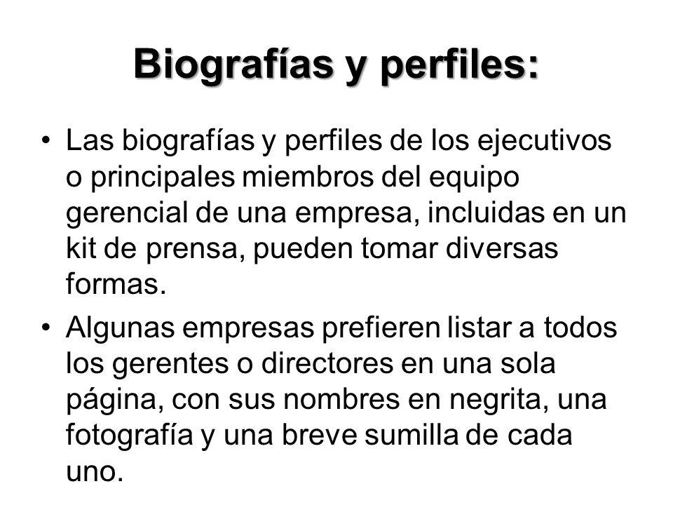 Biografías y perfiles: