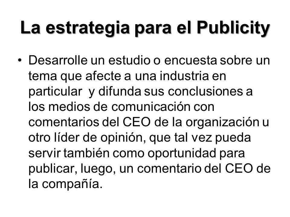 La estrategia para el Publicity
