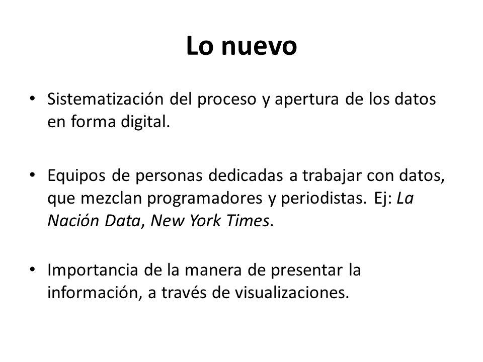 Lo nuevo Sistematización del proceso y apertura de los datos en forma digital.