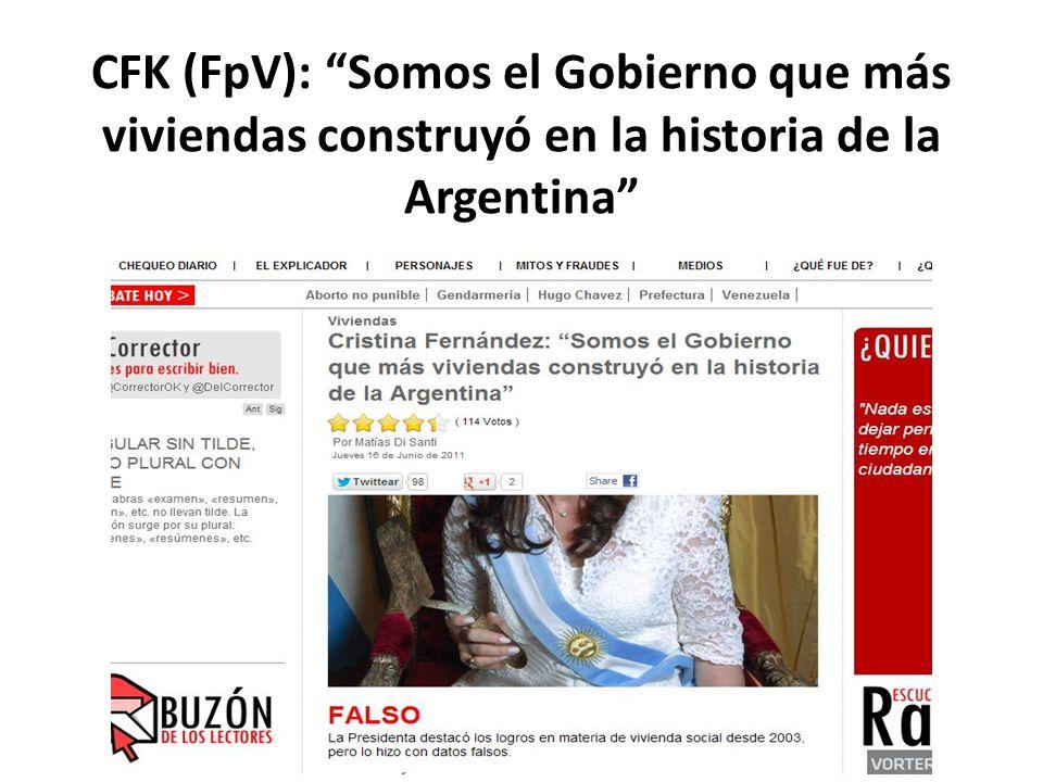 CFK (FpV): Somos el Gobierno que más viviendas construyó en la historia de la Argentina