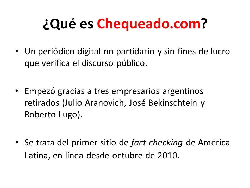 ¿Qué es Chequeado.com Un periódico digital no partidario y sin fines de lucro que verifica el discurso público.