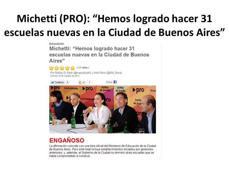 Michetti (PRO): Hemos logrado hacer 31 escuelas nuevas en la Ciudad de Buenos Aires