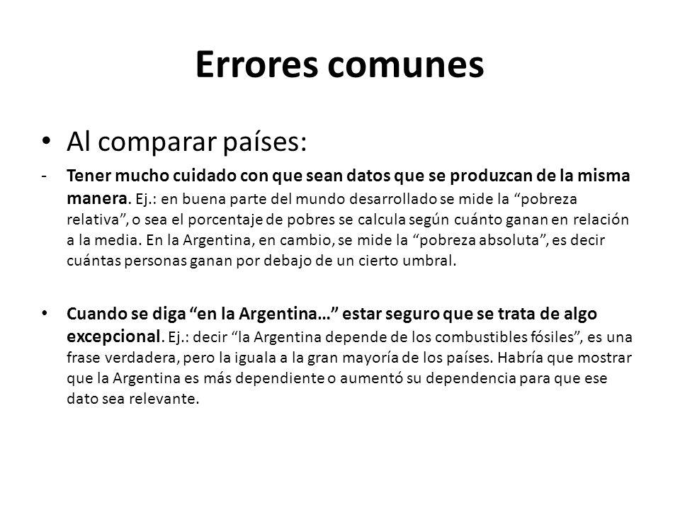 Errores comunes Al comparar países:
