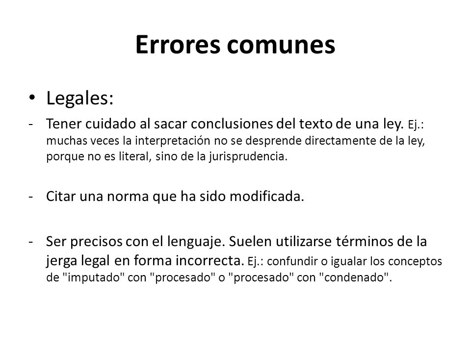 Errores comunes Legales: