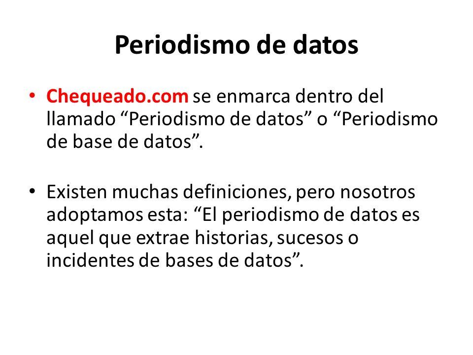 Periodismo de datos Chequeado.com se enmarca dentro del llamado Periodismo de datos o Periodismo de base de datos .