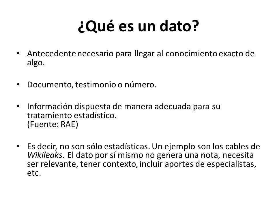 ¿Qué es un dato Antecedente necesario para llegar al conocimiento exacto de algo. Documento, testimonio o número.