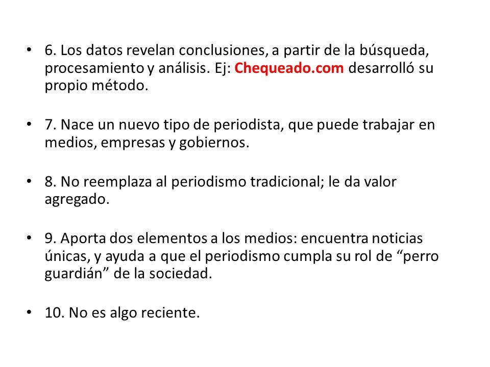 6. Los datos revelan conclusiones, a partir de la búsqueda, procesamiento y análisis. Ej: Chequeado.com desarrolló su propio método.