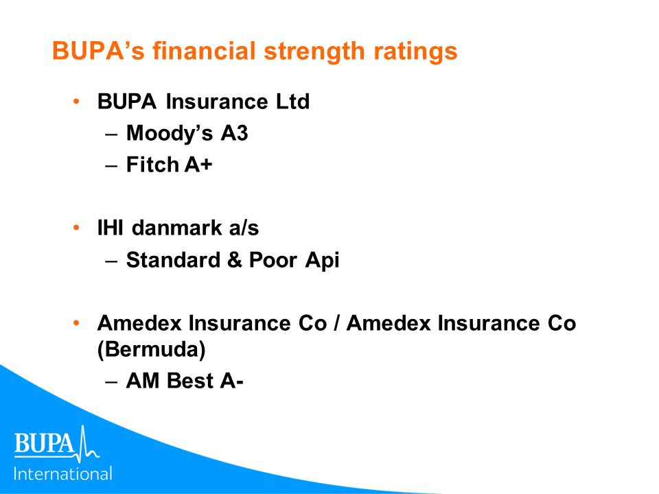BUPA's financial strength ratings