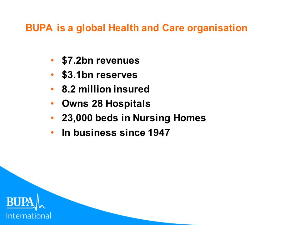 BUPA is a global Health and Care organisation