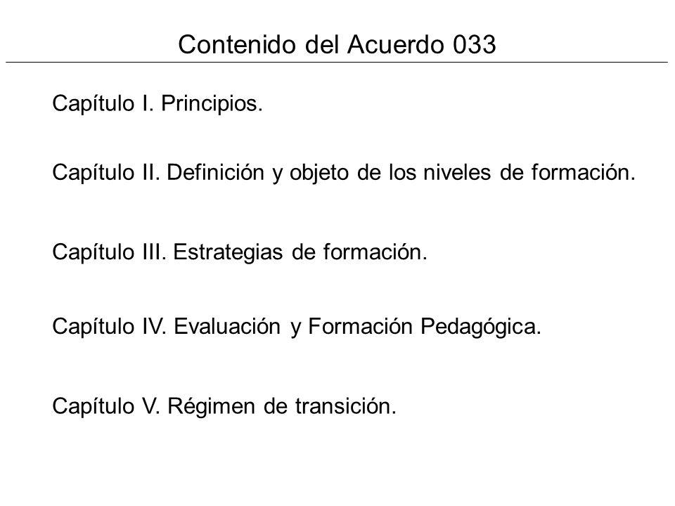 Contenido del Acuerdo 033 Capítulo I. Principios.