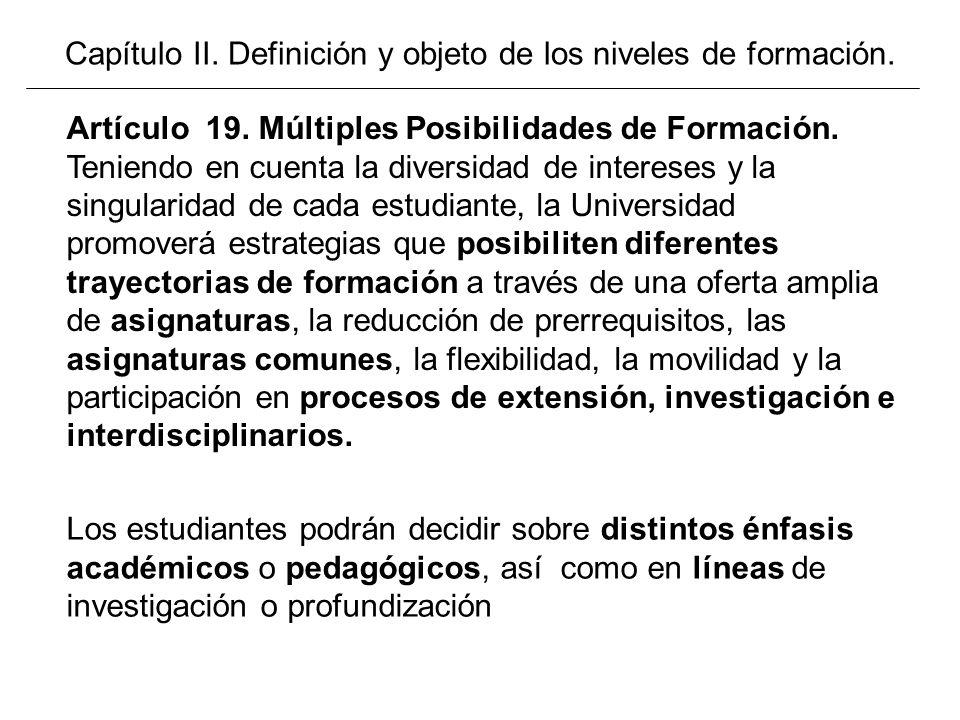 Capítulo II. Definición y objeto de los niveles de formación.