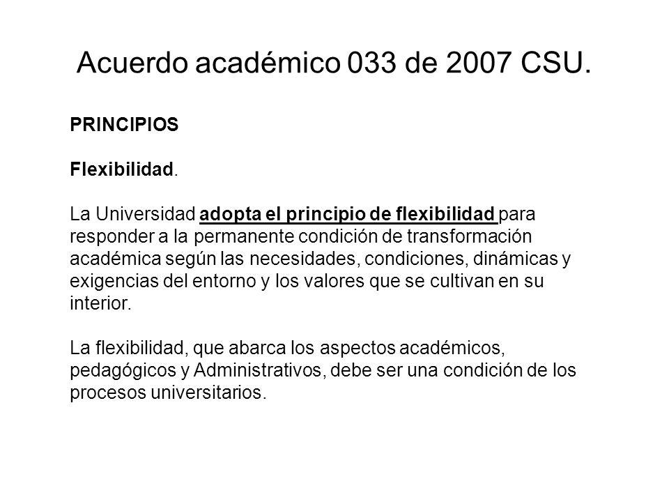 Acuerdo académico 033 de 2007 CSU.