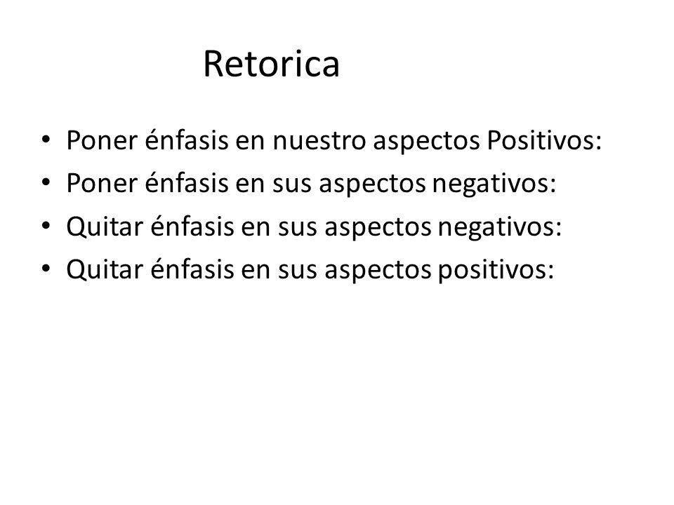 Retorica Poner énfasis en nuestro aspectos Positivos: