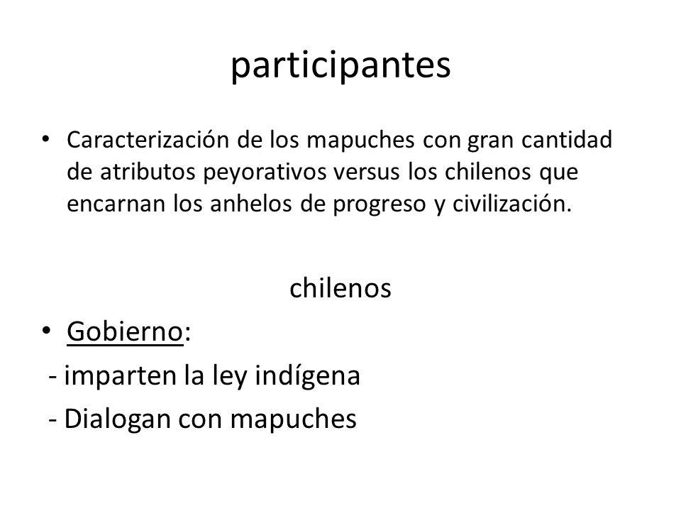 participantes chilenos Gobierno: - imparten la ley indígena