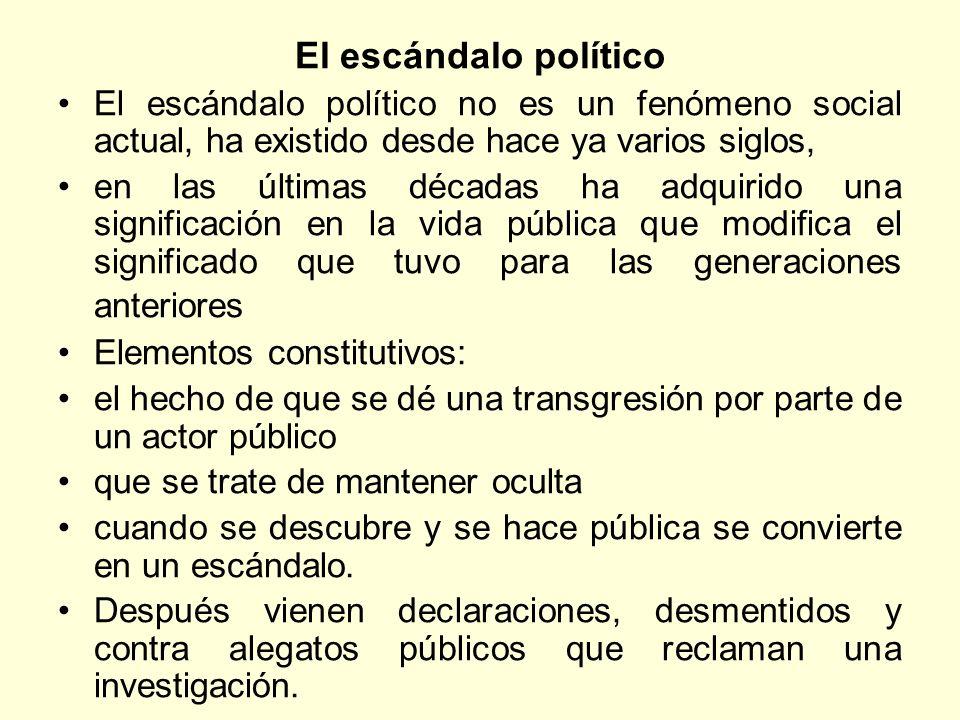 El escándalo político El escándalo político no es un fenómeno social actual, ha existido desde hace ya varios siglos,
