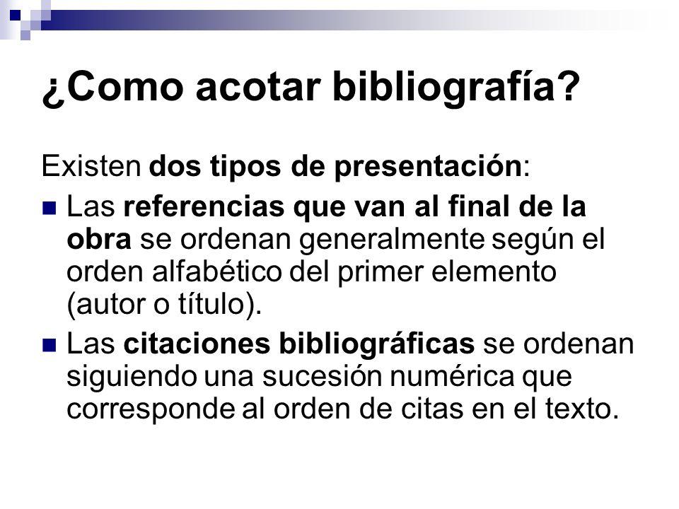 ¿Como acotar bibliografía