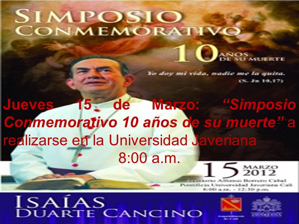 Jueves 15 de Marzo: Simposio Conmemorativo 10 años de su muerte a realizarse en la Universidad Javeriana