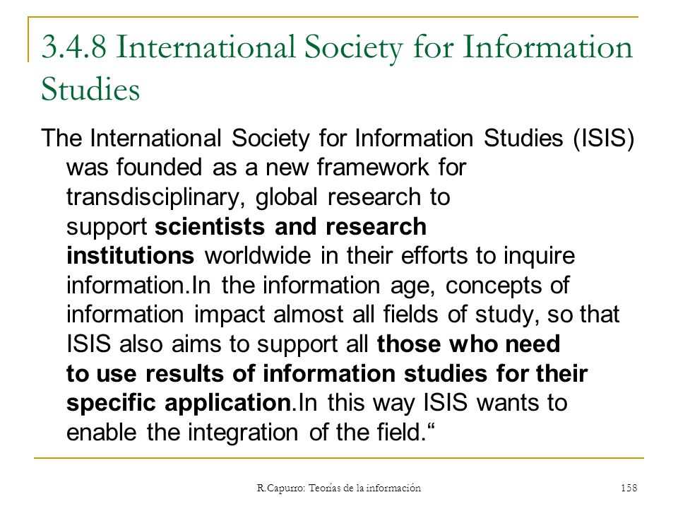 3.4.8 International Society for Information Studies