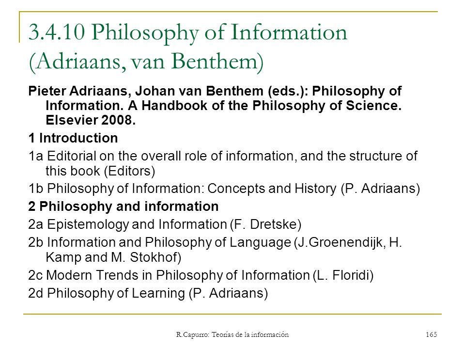 3.4.10 Philosophy of Information (Adriaans, van Benthem)