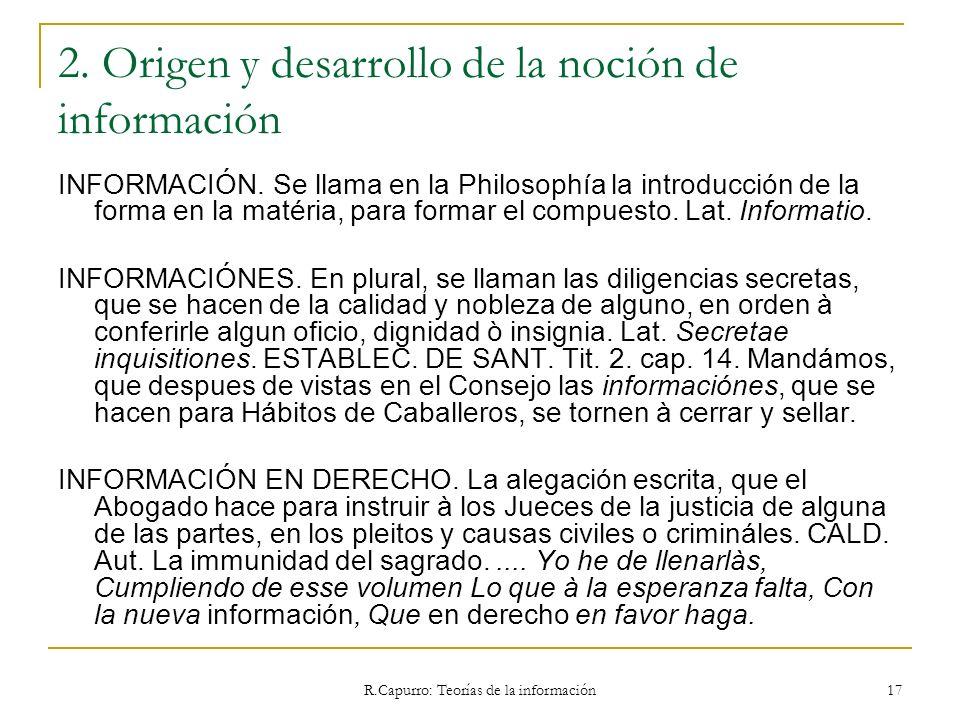 2. Origen y desarrollo de la noción de información