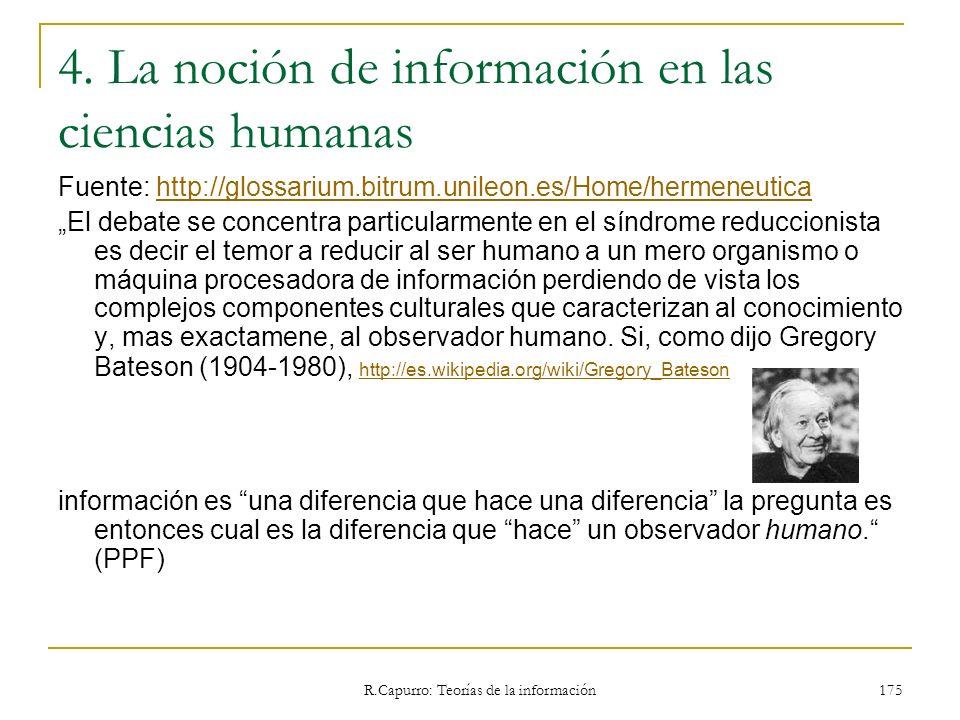 4. La noción de información en las ciencias humanas