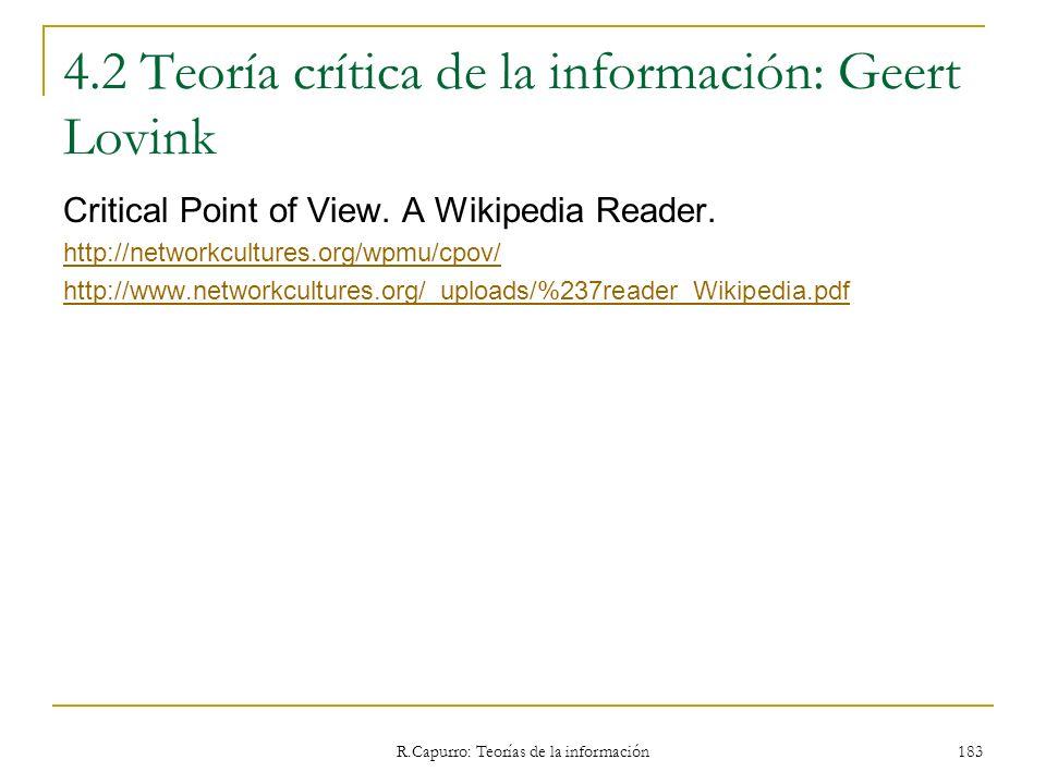 4.2 Teoría crítica de la información: Geert Lovink