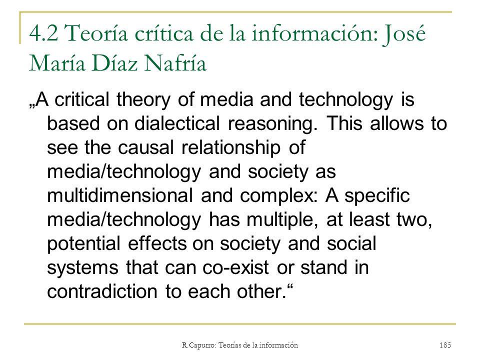 4.2 Teoría crítica de la información: José María Díaz Nafría