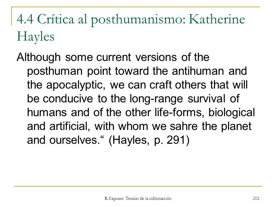 4.4 Crítica al posthumanismo: Katherine Hayles