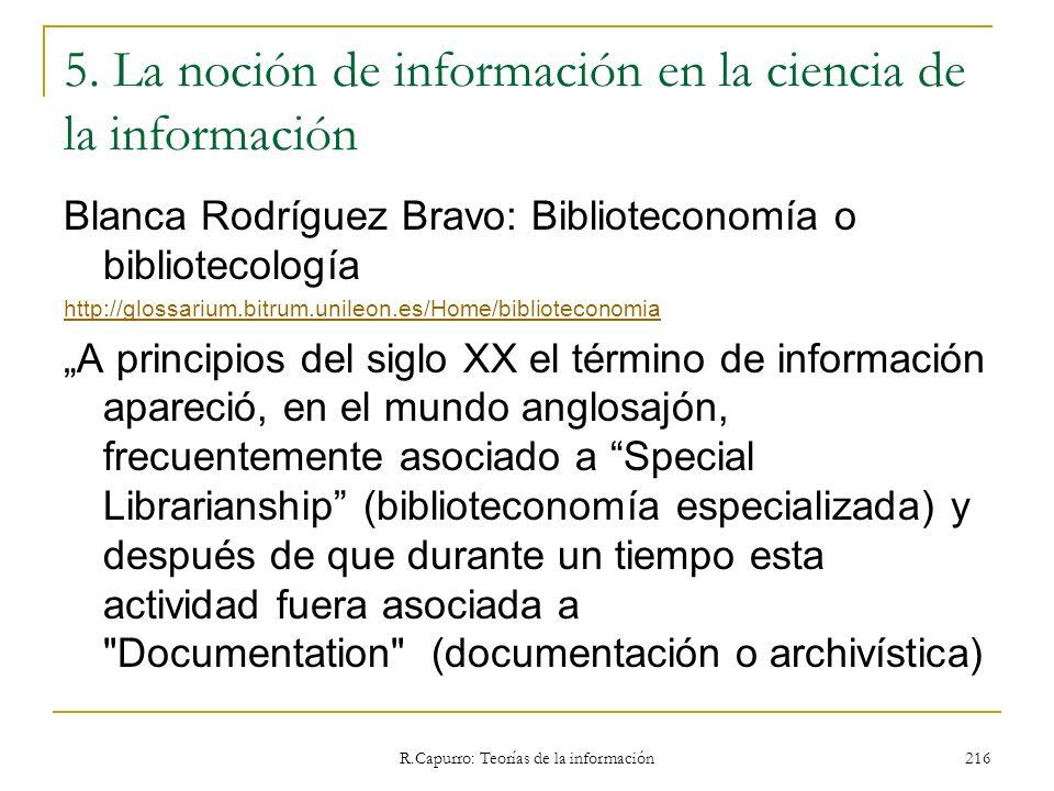 5. La noción de información en la ciencia de la información