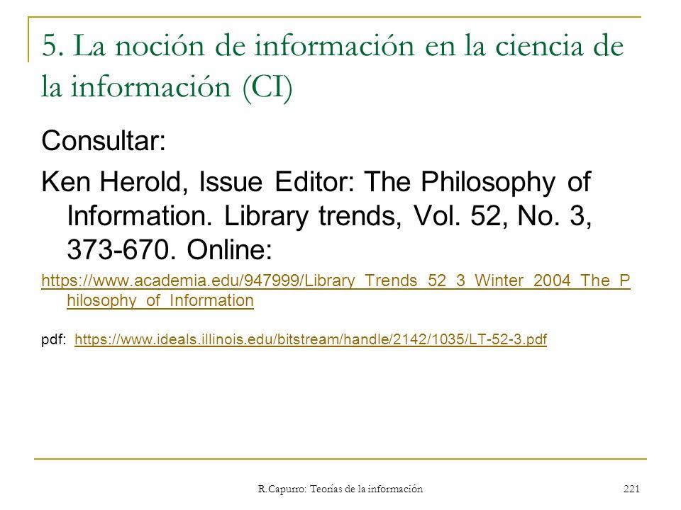 5. La noción de información en la ciencia de la información (CI)