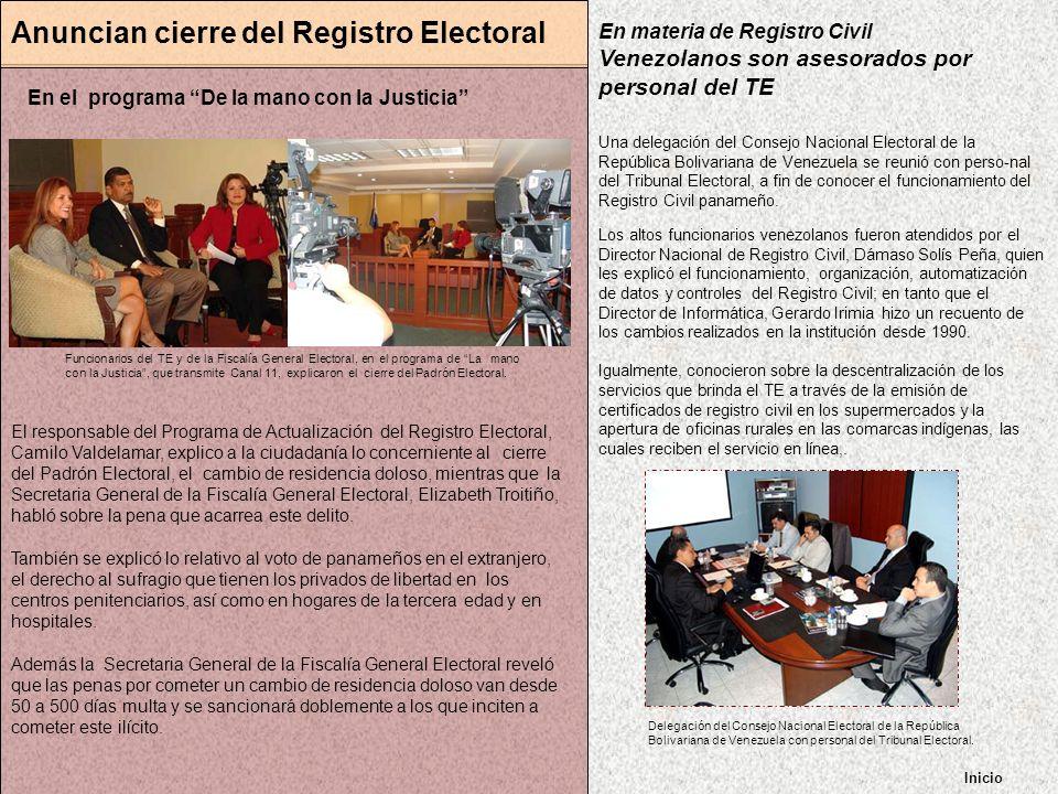 Anuncian cierre del Registro Electoral