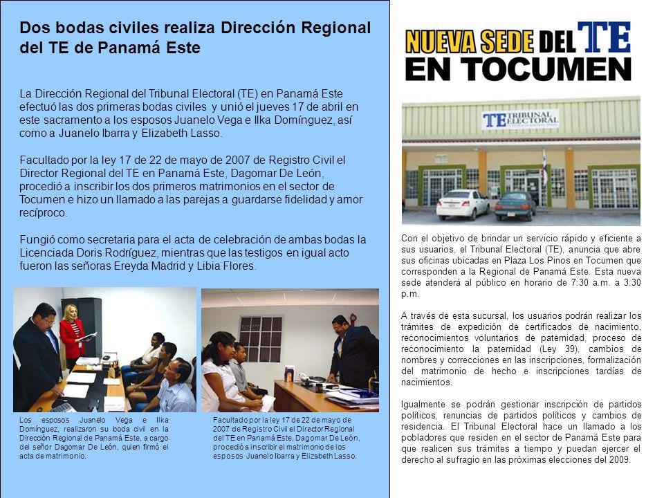 Dos bodas civiles realiza Dirección Regional del TE de Panamá Este