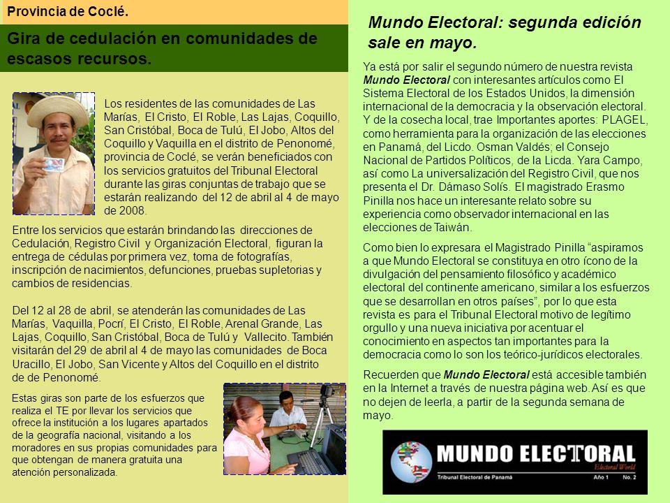 Mundo Electoral: segunda edición sale en mayo.
