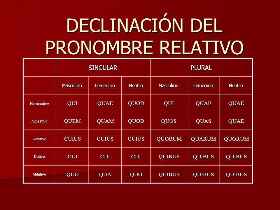 DECLINACIÓN DEL PRONOMBRE RELATIVO
