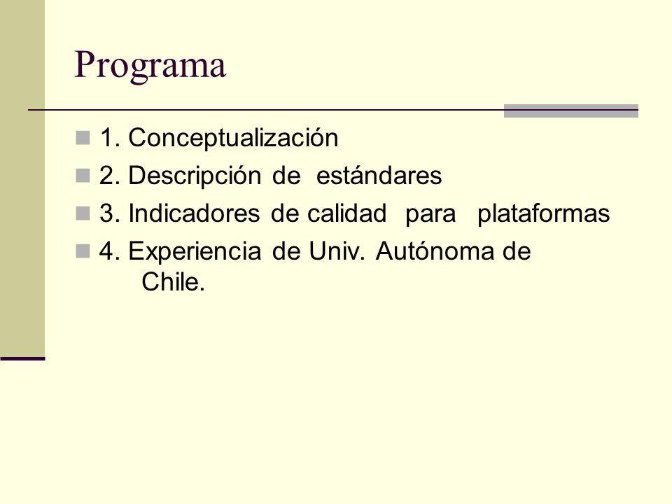 Programa 1. Conceptualización 2. Descripción de estándares