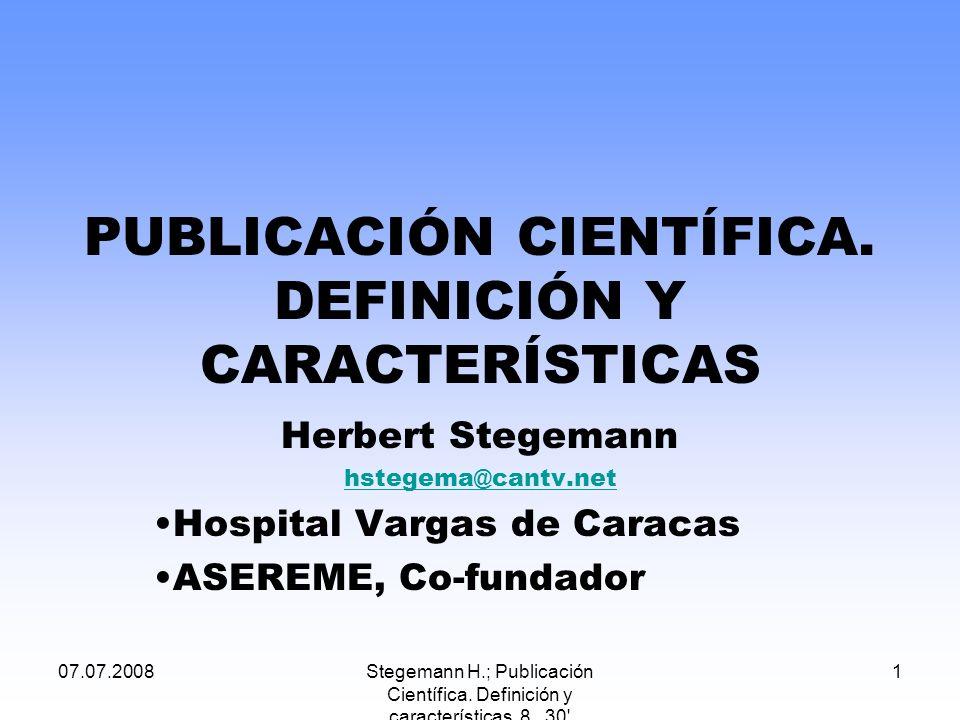 PUBLICACIÓN CIENTÍFICA. DEFINICIÓN Y CARACTERÍSTICAS