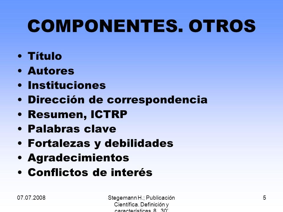 COMPONENTES. OTROS Título Autores Instituciones