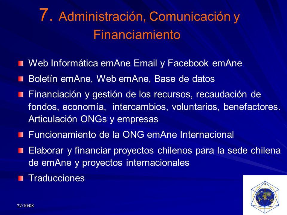 7. Administración, Comunicación y Financiamiento