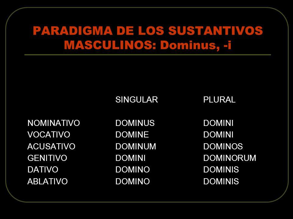 PARADIGMA DE LOS SUSTANTIVOS MASCULINOS: Dominus, -i