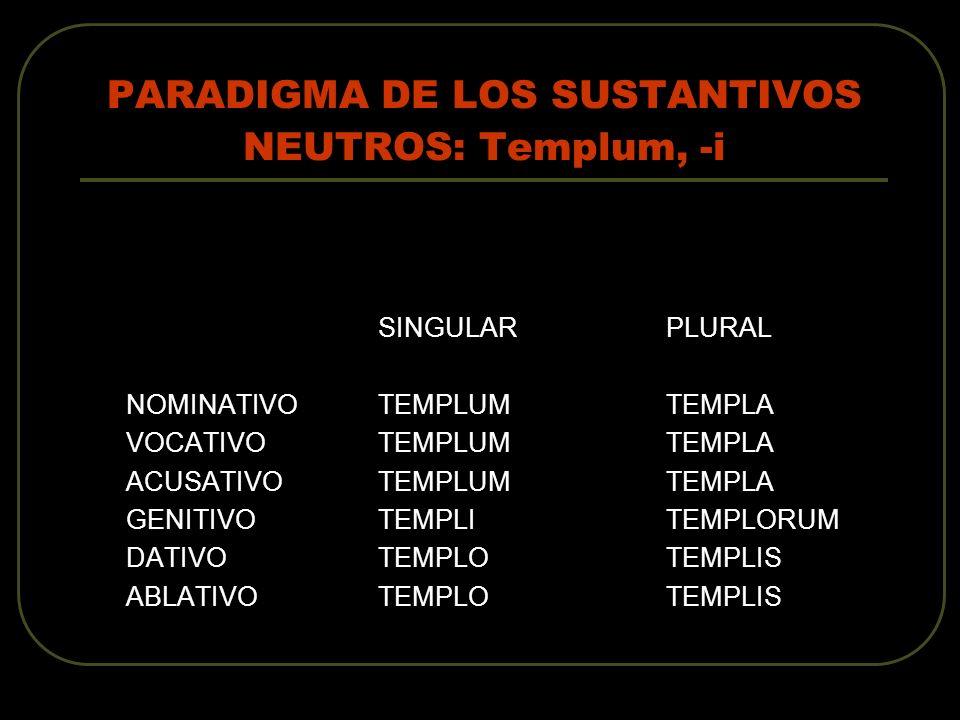 PARADIGMA DE LOS SUSTANTIVOS NEUTROS: Templum, -i
