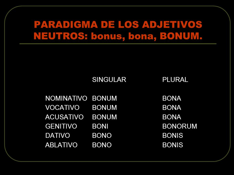 PARADIGMA DE LOS ADJETIVOS NEUTROS: bonus, bona, BONUM.