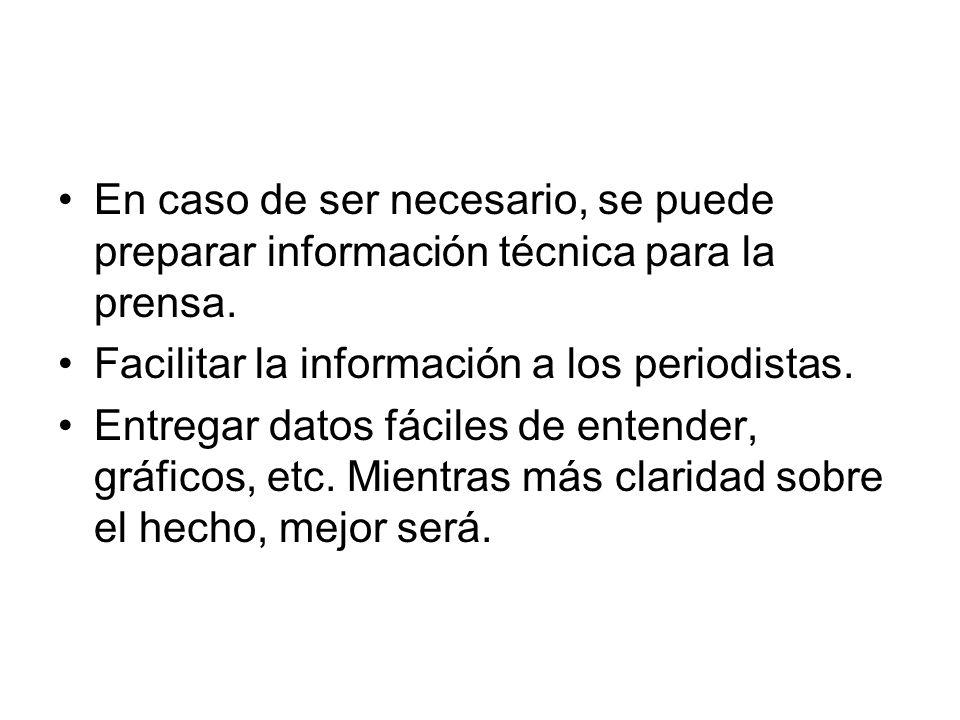 En caso de ser necesario, se puede preparar información técnica para la prensa.