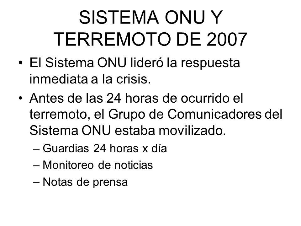 SISTEMA ONU Y TERREMOTO DE 2007