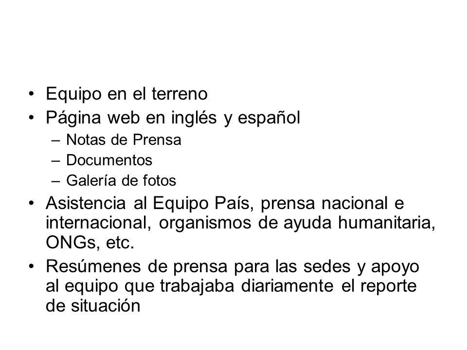 Página web en inglés y español