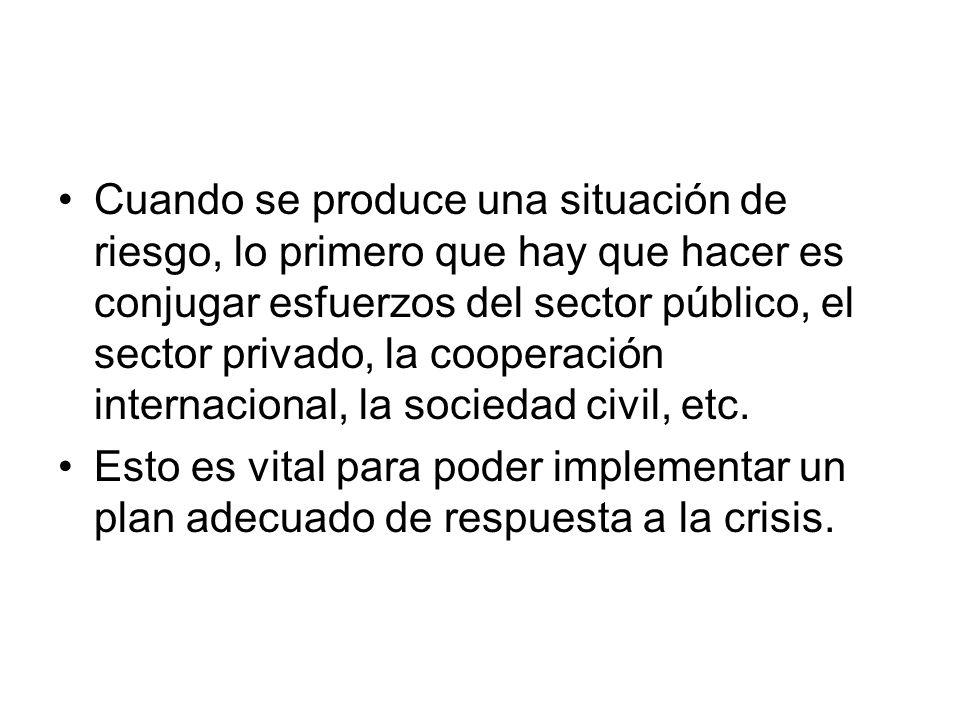 Cuando se produce una situación de riesgo, lo primero que hay que hacer es conjugar esfuerzos del sector público, el sector privado, la cooperación internacional, la sociedad civil, etc.